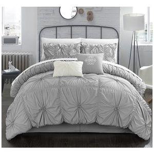 Comforter Set 6 Pinch Pleated Ruffled Embellished